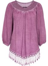Tassel Hem Washed Top