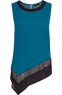 Asymmetric Embellished Chiffon Sleeveless Top - Sea Green