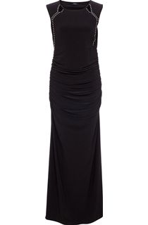 Embellished Sleeveless Stretch Maxi Dress - Black