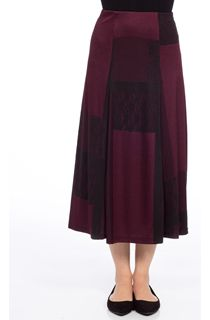 Anna Rose Panelled Skirt - Wine/Black