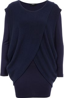Knit And Jersey Cross Over Two Piece Top - Blue