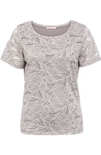 Anna Rose Leaf Print Short Sleeve Top - Silver