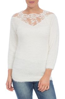 Eyelash Knit Lace Trim Top