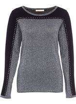 Embellished Colour Block Sparkle Knit Top