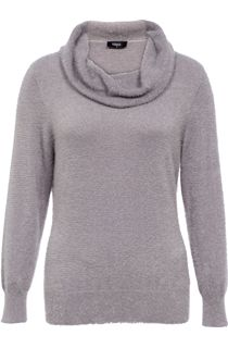 Cowl Neck Eyelash Knit Top - Grey