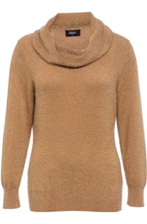 Cowl Neck Eyelash Knit Top - Camel