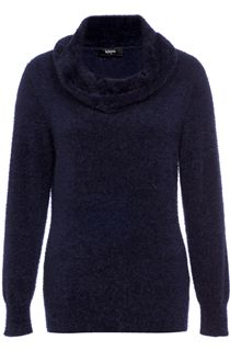 Cowl Neck Eyelash Knit Top - Navy