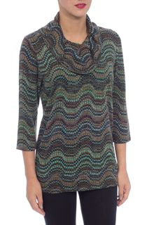 Three Quarter Sleeve Cowl Neck Spot Knit Top