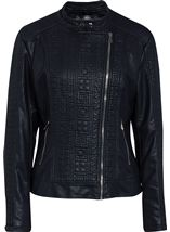 Faux Leather Asymmetrical Biker Jacket