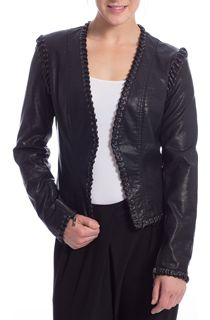 Short Faux Leather Stitch Jacket