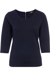 Textured Round Neck Jersey Top - Blue