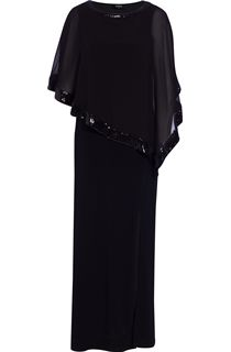 Split Sleeve Chiffon Maxi Dress - Black
