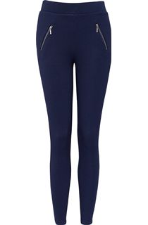Pull On Textured Stretch Treggings - Blue