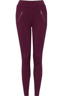Pull On Textured Stretch Treggings - Red