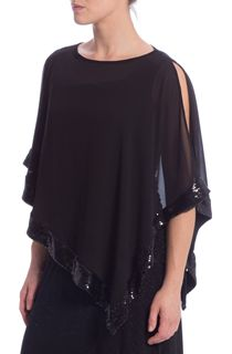 Split Sleeve Chiffon Sequin Edge Cover Up - Black