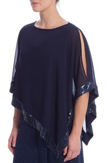 Split Sleeve Chiffon Sequin Edge Cover Up - Midnight