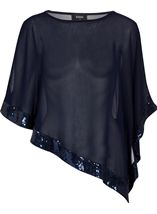 Split Sleeve Chiffon Sequin Edge Cover Up