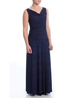 Cowl Neck Gathered Sleeveless Sparkle Maxi Dress - Navy