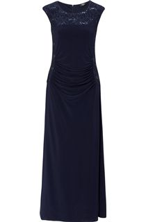 Embellished Lace Trim Sleeveless Jersey Maxi Dress - Navy
