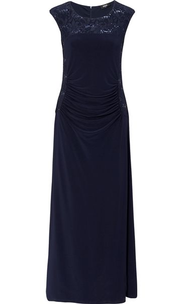 Embellished Lace Trim Sleeveless Jersey Maxi Dress