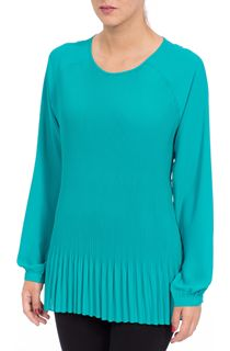 Pleated Long Sleeve Raglan Top - Jade