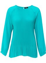 Pleated Long Sleeve Raglan Top