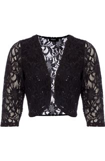 Three Quarter Sleeve Lace Cover Up - Black