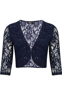 Three Quarter Sleeve Lace Cover Up - Navy