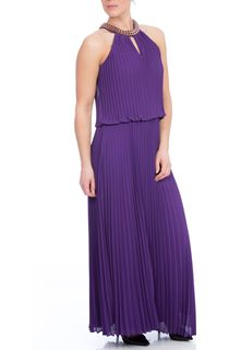 Pleated Sleeveless Embellished Maxi Dress - Purple