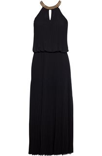 Pleated Sleeveless Embellished Maxi Dress - Black