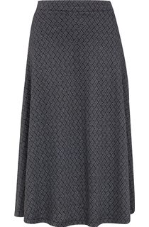 Grid Design Elasticated Waist Midi Skirt