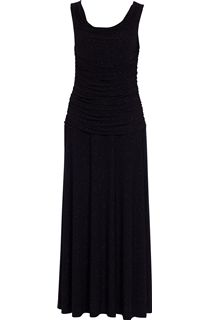 Cowl Neck Gathered Sleeveless Sparkle Maxi Dress - Black