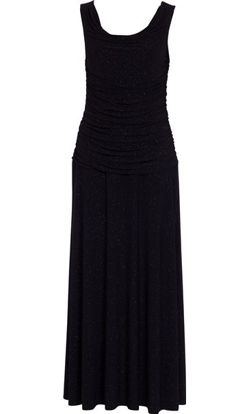 Cowl Neck Gathered Sleeveless Sparkle Maxi Dress