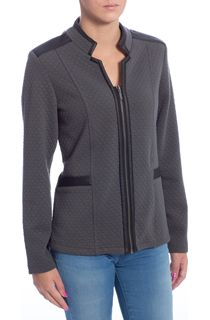 Diamond Design PU Trim Zip Jacket - Grey
