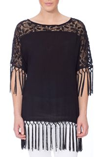 Lace and Tassel Trim Crinkle Crepe Top - Black