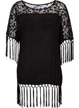 Lace and Tassel Trim Crinkle Crepe Top