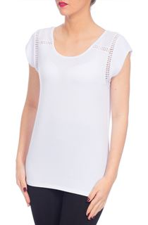 Crochet Trim Top - White