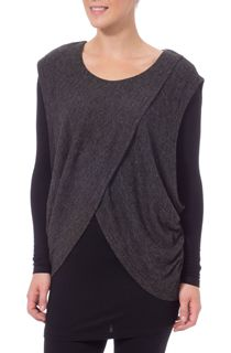 Knit And Jersey Cross Over Two Piece Top - Black/Grey