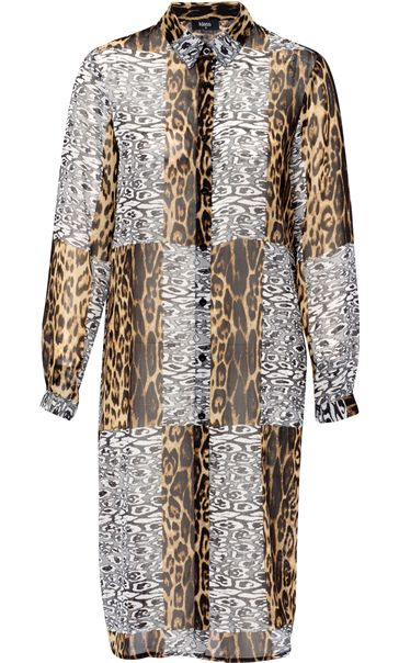 Longline Animal Print Georgette Blouse