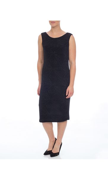 Sparkle Sleeveless Cowl Back Fitted Midi Dress