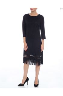 Suedette Laser Cut Midi Dress