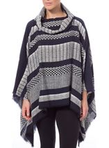 Stripe And Check Collared Knit Cape