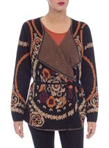 Patterned Wrap Over Knit Cardigan