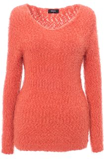 Eyelash Knit Long Sleeve Top - Red