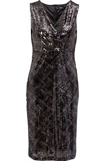 Sleeveless Sequin Wrap Midi Dress