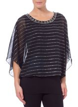 Embellished Chiffon And Jersey Layered Top