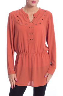 Eyelet Trimmed Long Sleeve Crepe Top - Paprika