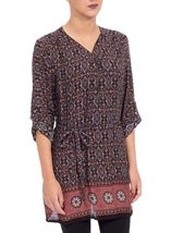 Printed Three Quarter Sleeve Zip Tunic