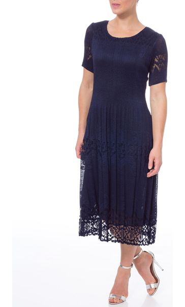 Crinkle Lace Short Sleeve Midi Dress