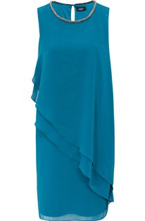 Embellished Layered Georgette Sleeveless Midi Dress - Green